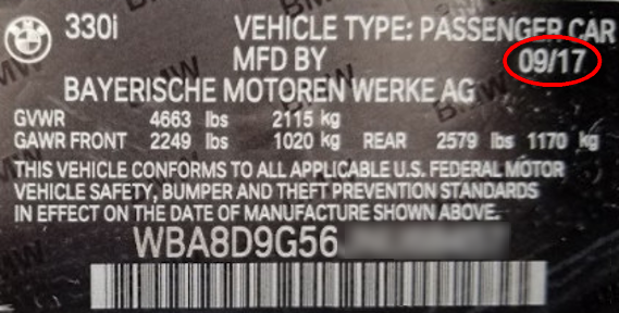 You can find your vehicle's Production Month/Year on the manufacturer plate